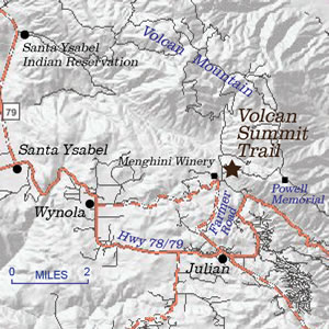 Location map for Volcan Summit Trail